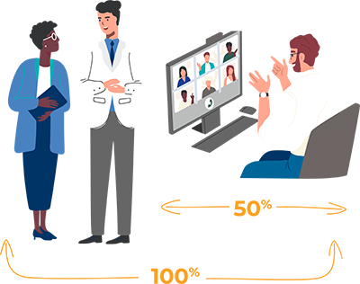 100 percent of physicians attended a peer-to-peer event